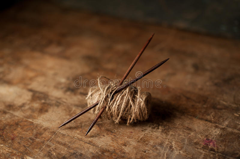 Rustic Knitting Supplies royalty free stock photography