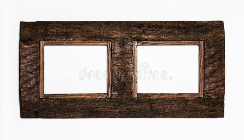 rustic lacquered Blank picture poster frame template isolated on white background stock photos