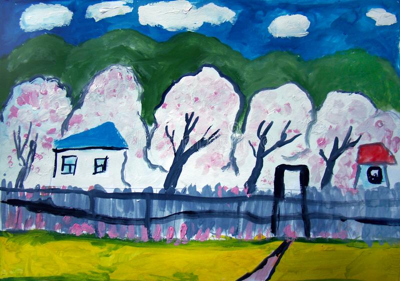 Rustic landscape with apple trees in bloom. Rustic landscape with blooming apple trees. Gouache painting made by child stock illustration