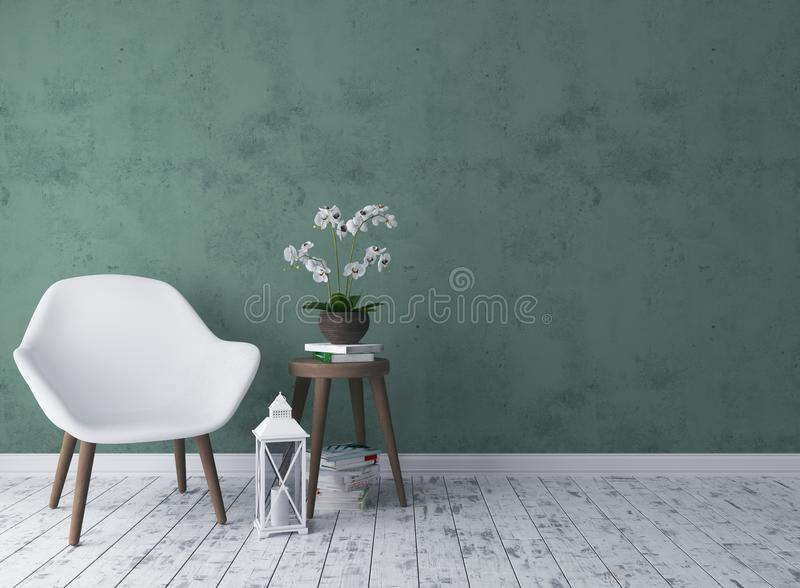 Rustic living room with chair, candlestick, orchid. And old stool 3d render vector illustration
