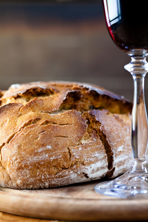 Free Rustic Loaf Of Bread And Red Wine Stock Photos - 15172693