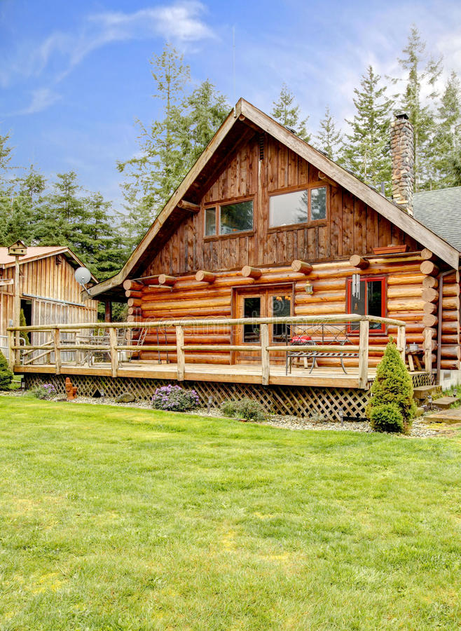 Rustic Log Small Cabin Deck Exterior Stock Image Image