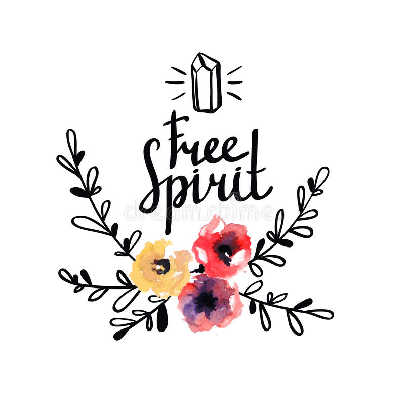 Rustic logo template with watercolor flowers and branches. royalty free illustration
