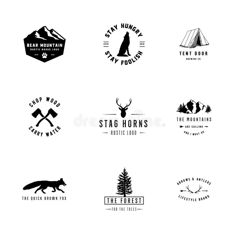 Rustic Logos. Set of 9 rustic logo templates. Designs for the outdoors and nature stock illustration