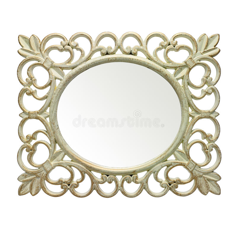 Rustic mirror frame. On white background. Clipping path inside. Useful for picture frame stock photos