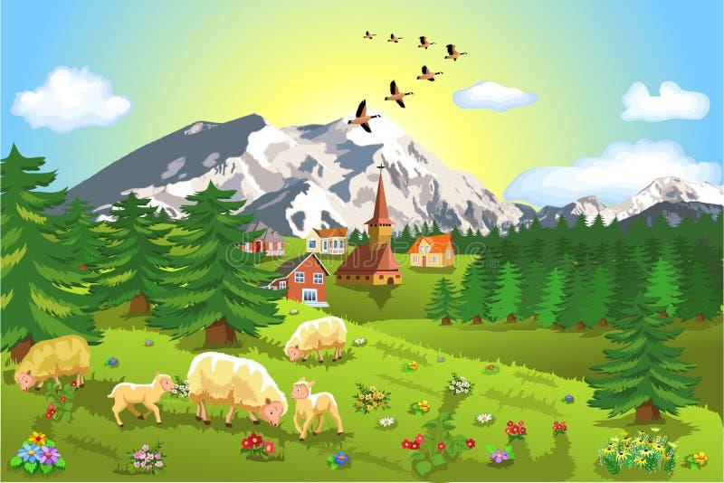 Rustic mountain landscape royalty free illustration