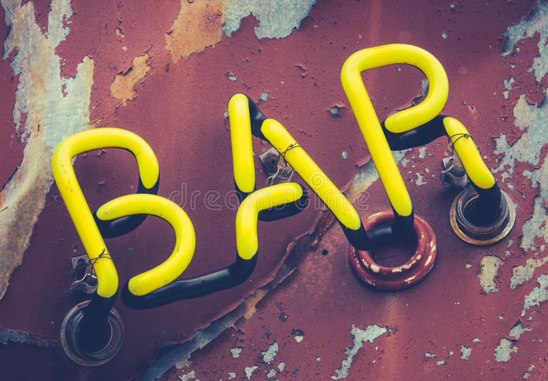 Rustic Neon Bar Sign. Detail Of A Rustic Vintage Retro Neon Bar Sign stock photography