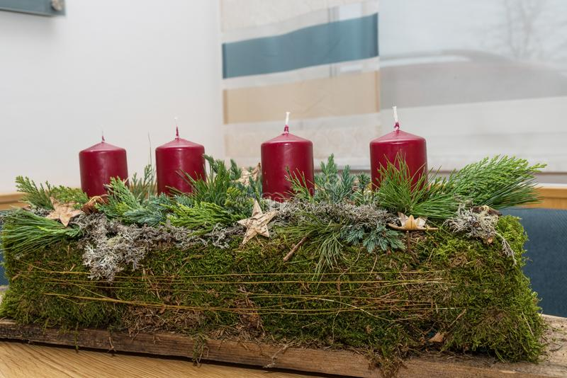 Rustic oblong Advent wreath royalty free stock images