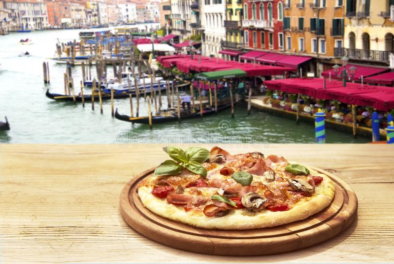 Rustic oizza royalty free stock image