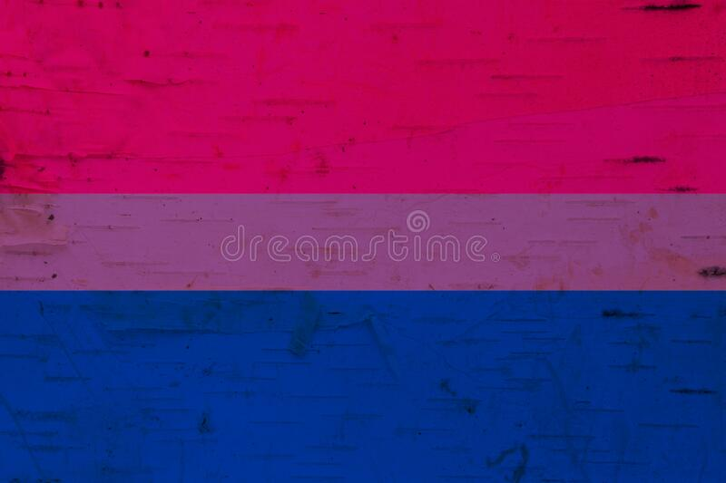 A rustic old bisexual flag on weathered wood. For a background royalty free stock images