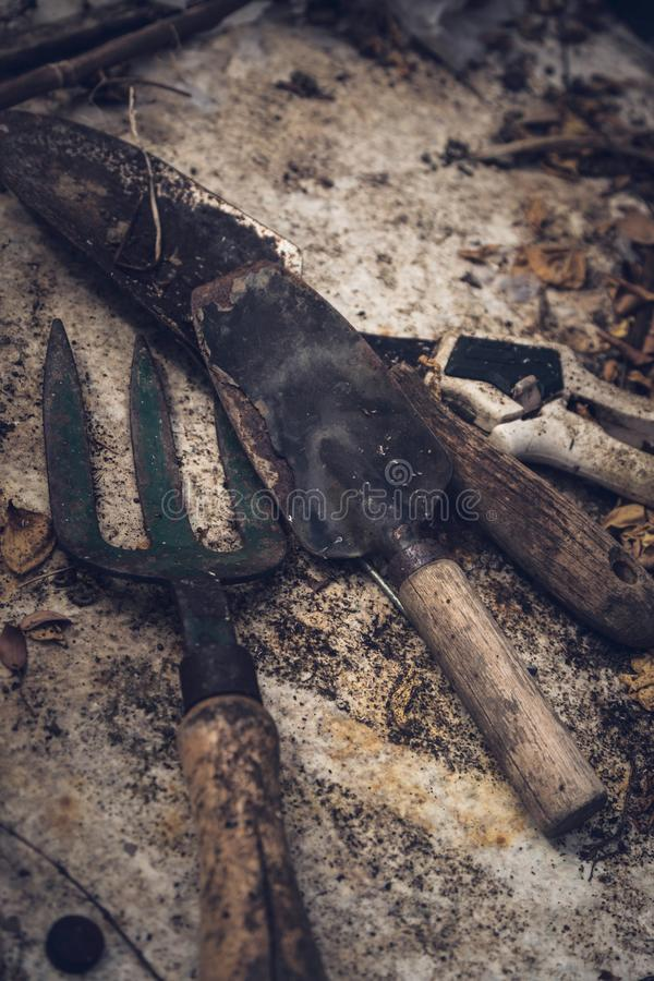 Rustic old gardening tools on texture royalty free stock photo