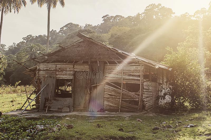 Rustic old shack in the jungle rainforest in South East Asia. Destroyed cabin, broken house in the jungle in the sunlight stock photography