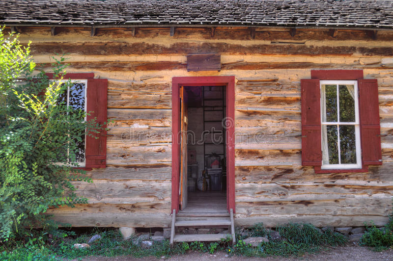 Rustic Old Time Log Cabin Front Door And Windows Stock Image ...