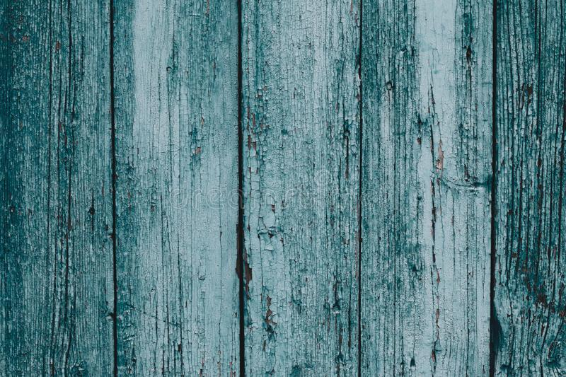 Rustic old wood plank background. Blue and green vintage timber texture background. Blue wooden plank desk table background textur stock images