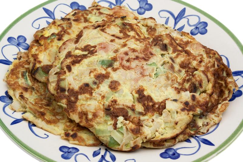 Rustic omelette with cheese and vegetables stock photos