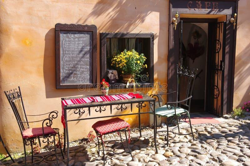 Rustic outdoor coffee bar stock photo