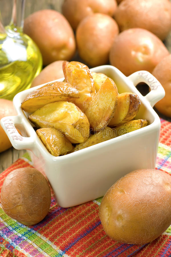 Download Rustic oven baked potatoes stock image. Image of closeup - 26653283