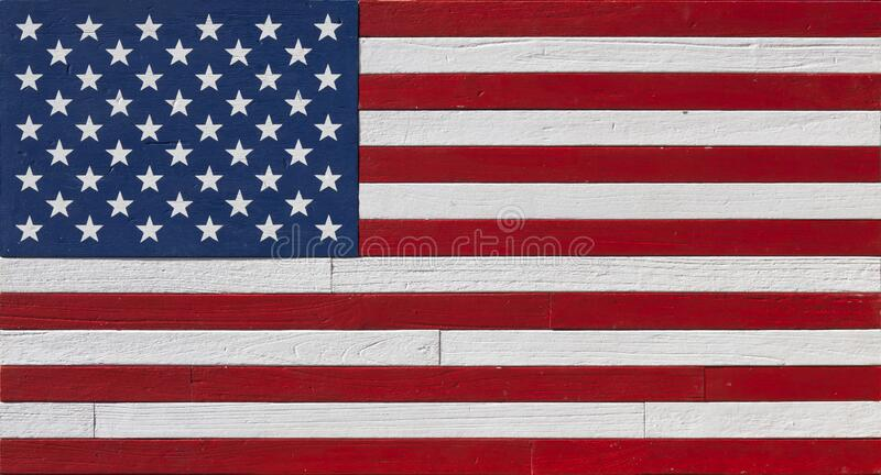 Rustic Painted Wood American Flag stock images