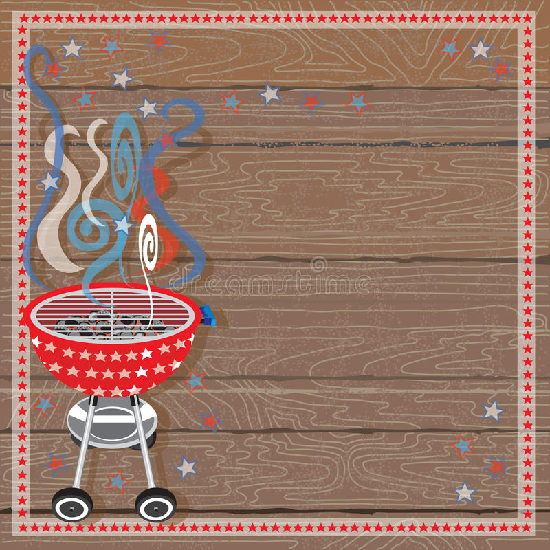 Rustic Patriotic or 4th of July BBQ Party stock illustration