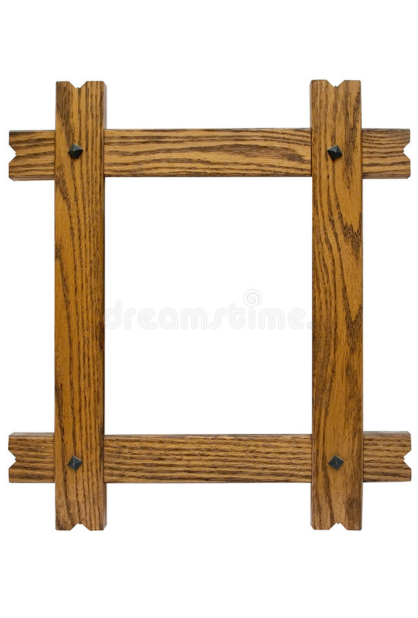 Rustic Picture Frame w/ Path. Nailed wooden picture frame to put your photos in. File contains a clipping path royalty free stock photography