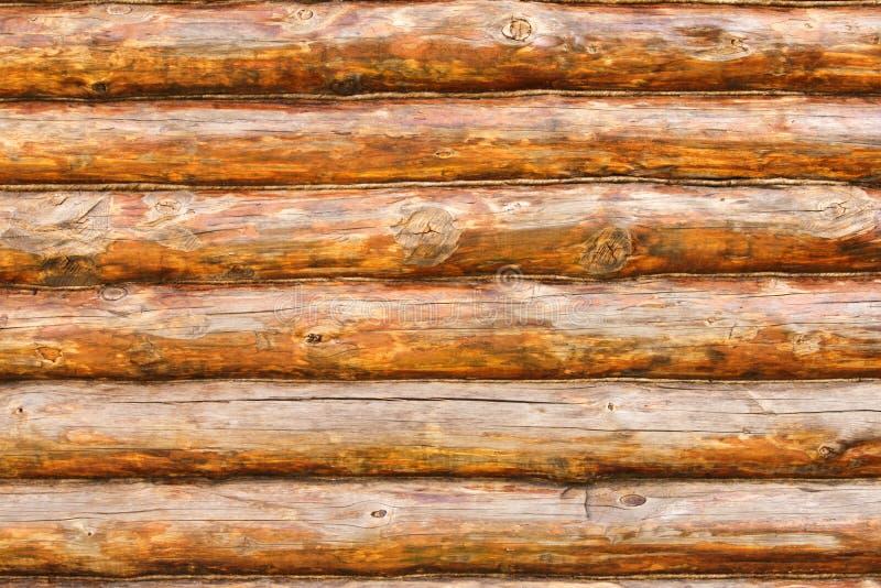 Rustic Pine Log Cabin Wall stock image