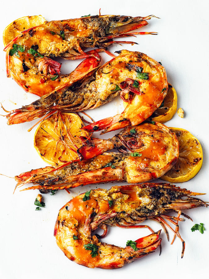 Rustic piri-piri grilled prawn royalty free stock photography