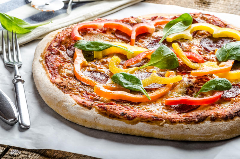 Rustic pizza stock photography