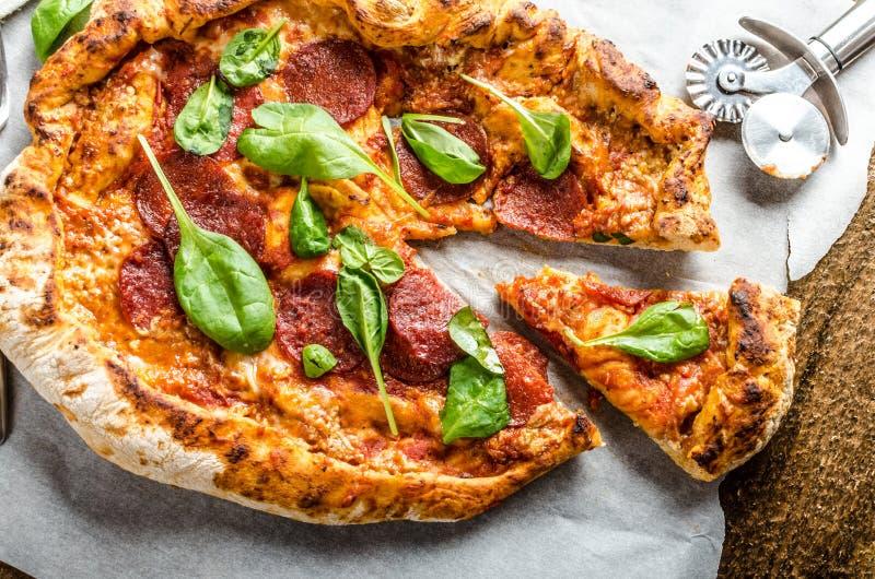 Rustic pizza stock image