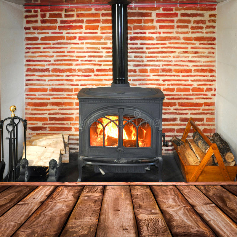 Rustic planks wood burning stove stock image image of - Revestimientos de chimeneas rusticas ...
