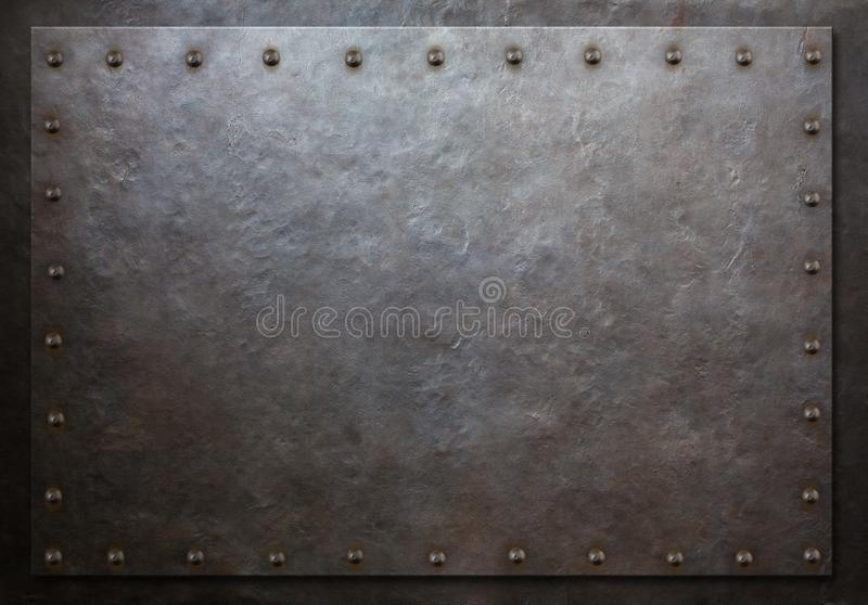 Rustic plate with rivets metal background 3d illustration stock image
