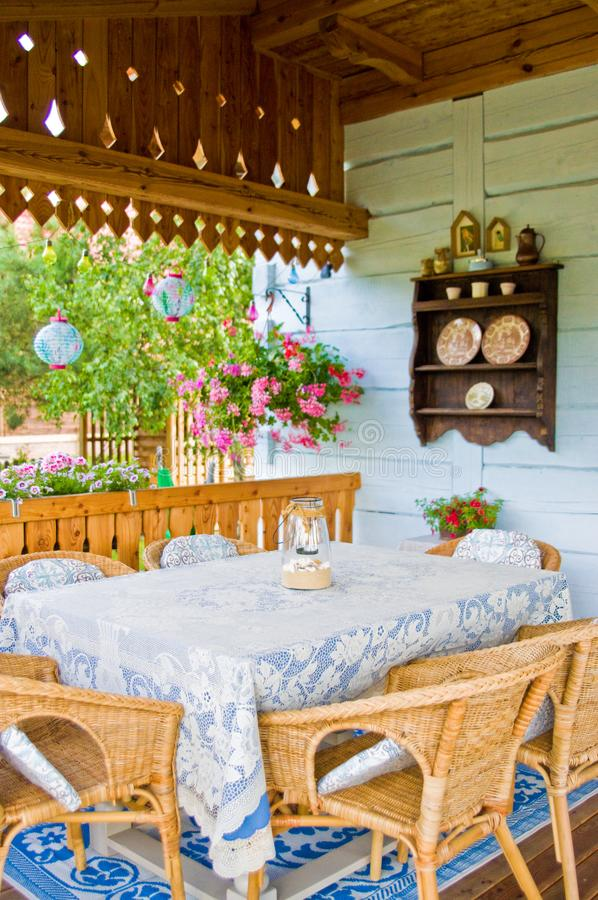 Rustic Polish rural home porch detail. A detail of a rural classic vintage porch of a village house in southern Poland. Polish architecture detail and home feel royalty free stock photography