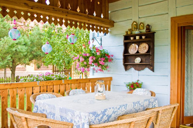 Rustic Polish rural home porch detail. A detail of a rural classic vintage porch of a village house in southern Poland. Polish architecture detail and home feel royalty free stock photo