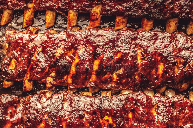 Rustic Pork Ribs Barbecue Grilled Hot and Spicy. Fine Food royalty free stock photos