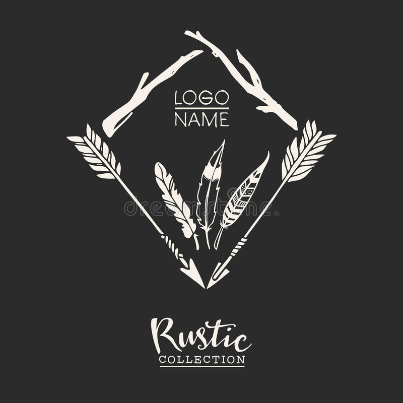 Rustic premade typographic logo with arrows, branches and feathers vector illustration