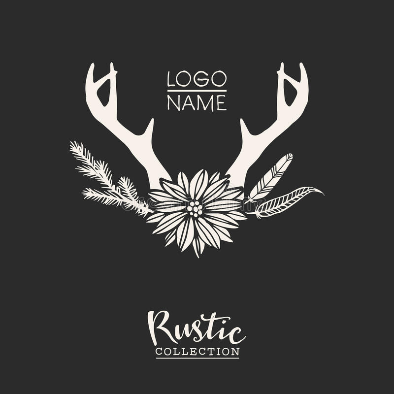 Rustic premade typographic logo with flowers, branches, antlers and feathers. Rustic premade typographic logo design with flowers, branches, antlers and stock illustration
