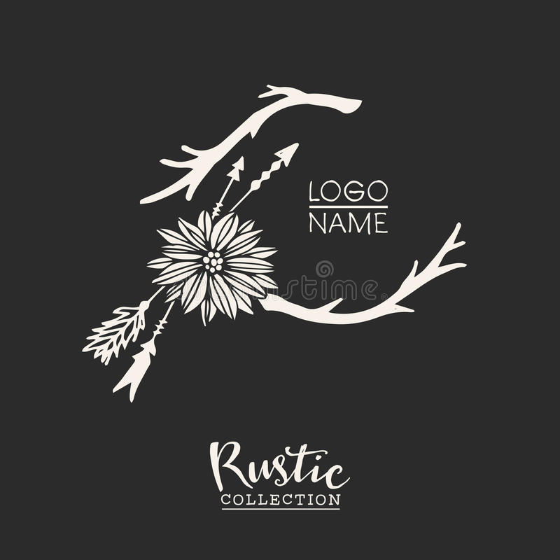 Rustic premade typographic logo with flowers, branches and arrows. stock illustration