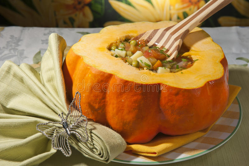 Download Rustic pumpkin soup stock photo. Image of olive, health - 25451702