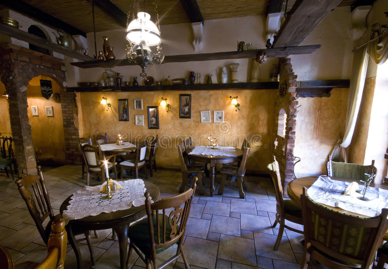 Rustic restaurant stock photography