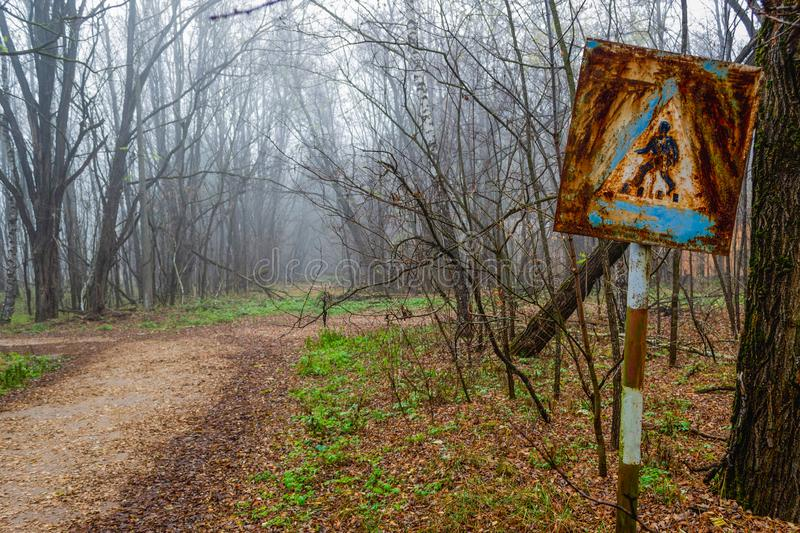 A rustic road signboard at the Chernobyl nuclear site stock photo