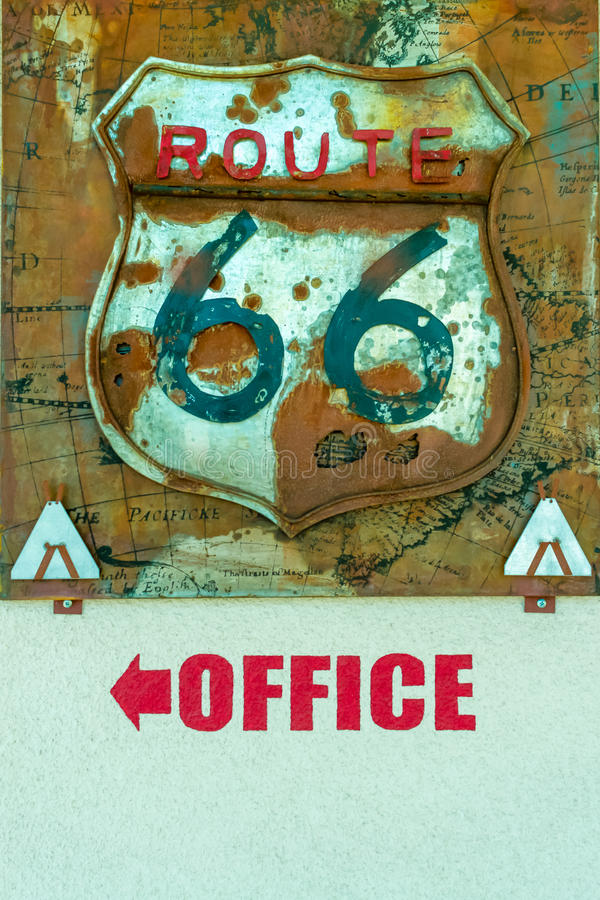 Rustic Route 66 Sign over the word Office stock photos