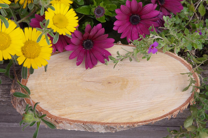 Rustic signboard with flowers and copy space royalty free stock photos