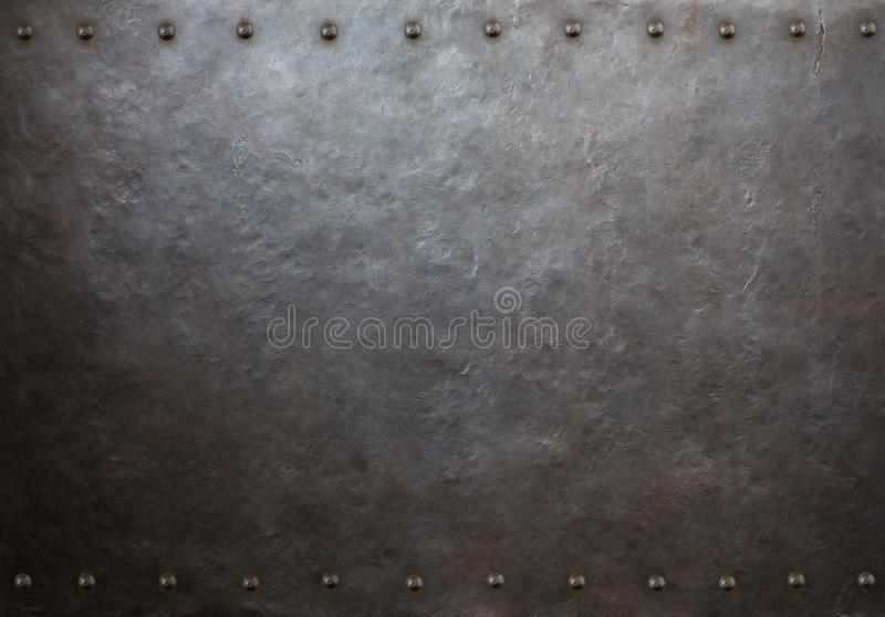 Rustic metal plate with rivets 3d illustration. Rustic steampunk metal background with rivets royalty free illustration