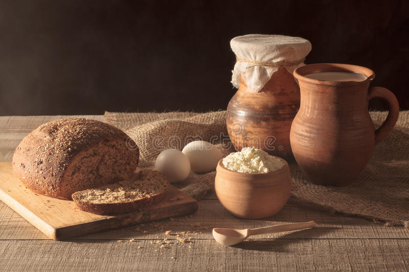Rustic still life. Ciuntry breakfast on wooden table. stock photography
