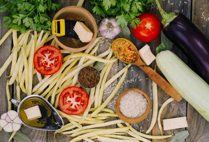 Rustic still life of ingredients for vegetarian dish. stock photography