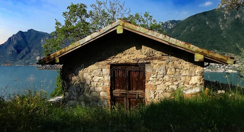Rustic Stone house on the hills of Monte Isola stock photos