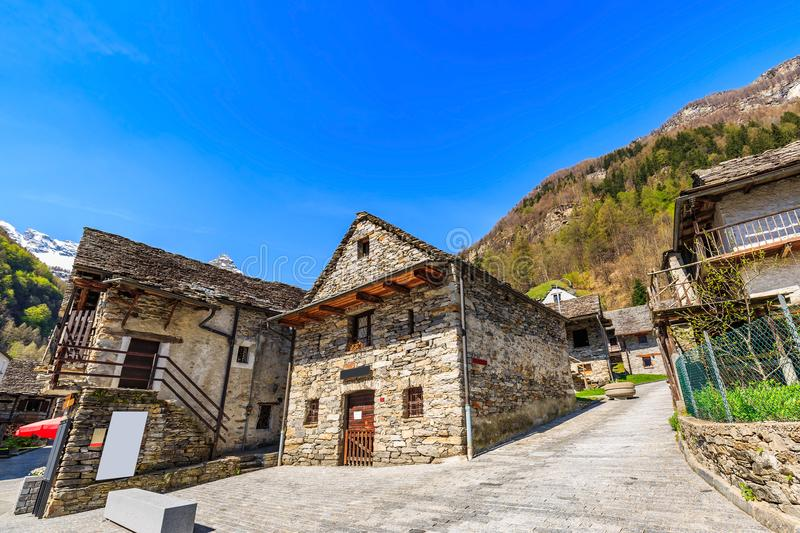 Download Rustic Stone Houses In Sonogno Stock Photo
