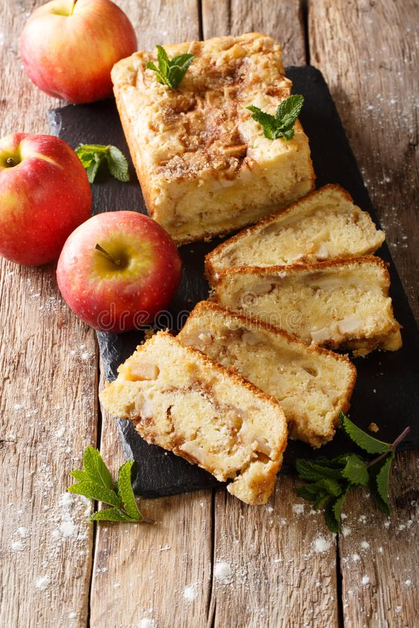 Rustic style apple bread with cinnamon and mint close-up on a wooden background. vertical. Rustic style apple bread with cinnamon and mint close-up on a board on royalty free stock photos