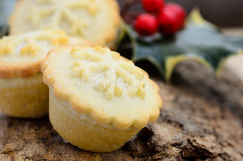Rustic style christmas mince pies stock images