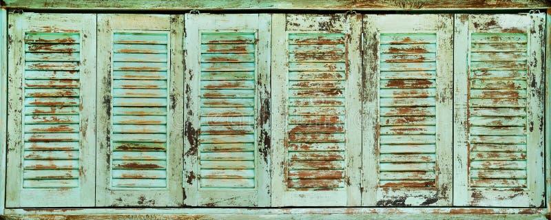 Rustic Turquoise Blue Wooden Folding Windows arkivbild