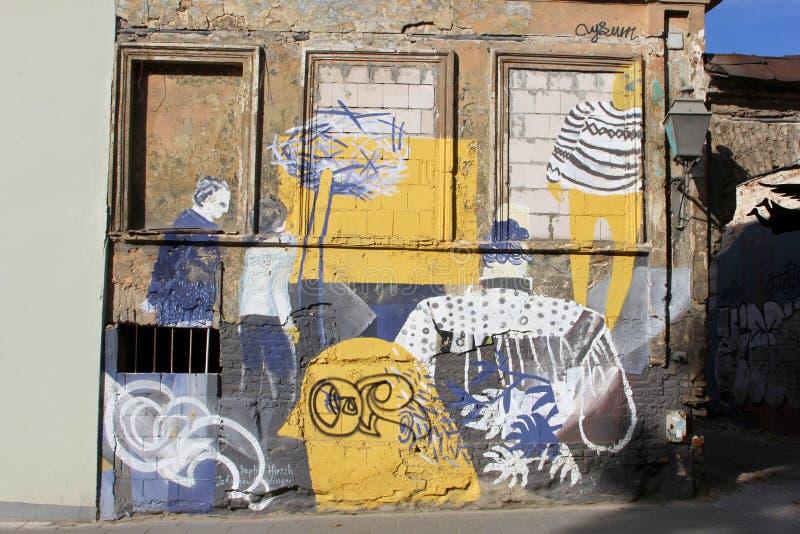 Rustic Wall With Artistic Street Art In Uzupio, Vilnius, Lithuania ...